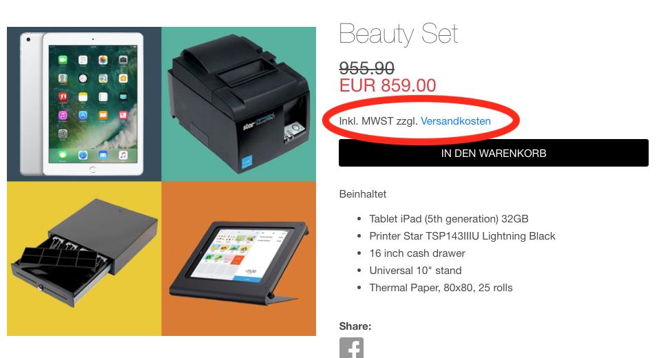 Versandkosten anzeigen online shop