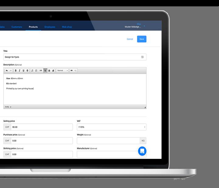 verwalte diensleistungen und produkte online